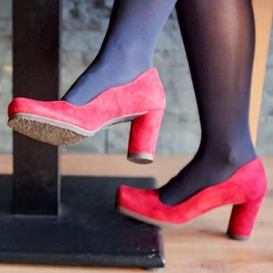 AUDLEY LONDON scarpe ISABEL rosso SUEDE PUMP HEELS NEW 38