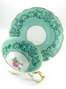 Royal-Bayreuth-Bavaria-Germany-US-Zone-Teacup-And-Saucer-Mint-Green-L861