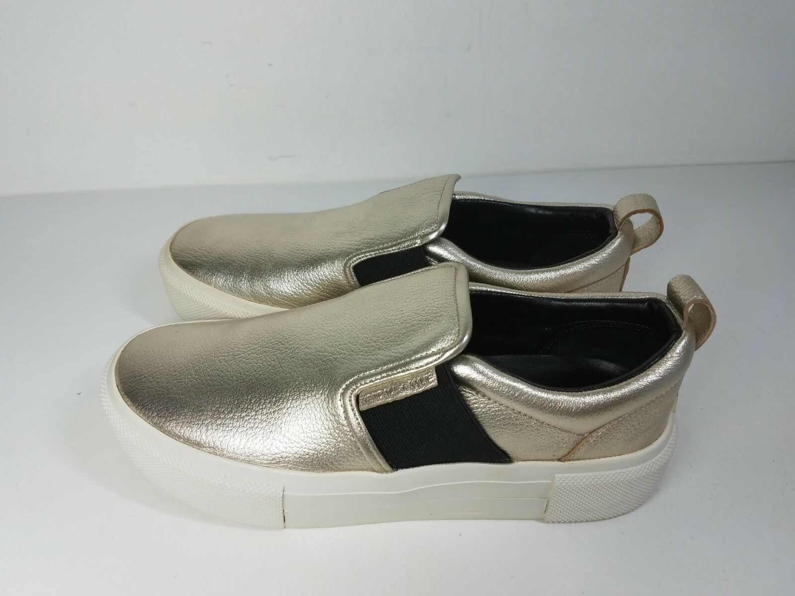 140 size 7.5 KENDALL + + + KYLIE Tenley gold Leather Platform Sneakers Womens shoes c401f2