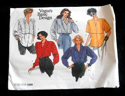 VOGUE's Basic Design Pattern 1609 - Misses' Shirt Size 8*10-12 - New uncut