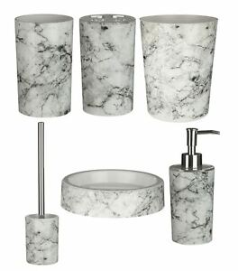 6 pc Rome Marble Effect ABS Plastic Bathroom Accessories Set For ...