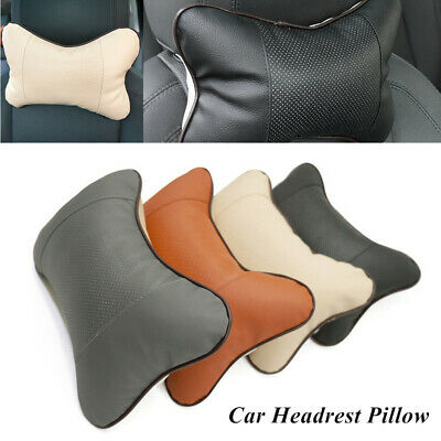 Westion 2pcs Genuine Leather Bone-Shaped Car Seat Pillow Neck Rest Headrest Comfortable Cushion Pad with Logo Pattern fit BMW