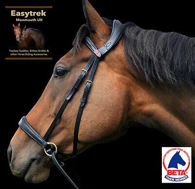 New Extra Full Easytrek brown leather bitless bridle /& reins side pull hackamore