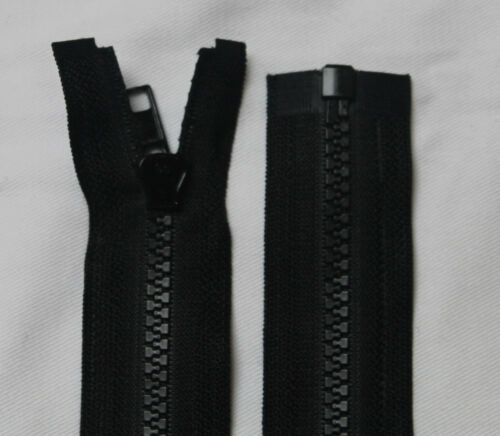 Reißverschluss 80 cm  Nummer 5 Teilbar Kunststoff Grobe Zähne Vislon Schwarz