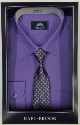 Mens Boxed Rael Brook Long Sleeve Shirt and Tie Set Work Formal Business Casual
