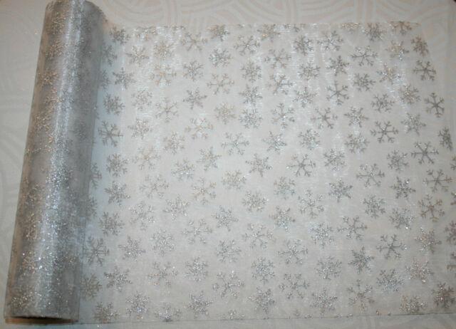 silber organza Tischläufer Dekostoff Silberhochzeit Tisch Weihnachten 24x250 cm