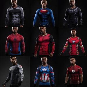 Détails sur Hommes Garçons Super Héro Marvel Compression Haut T shirts Sport Gym Collant