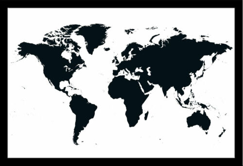 schwarz Weltkarte Landkarten Lernposter 91,5x61 cm