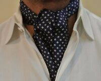 Navy Blue, White Floral Armand Couture Ascot Cravat 100% Silk. Hand Made
