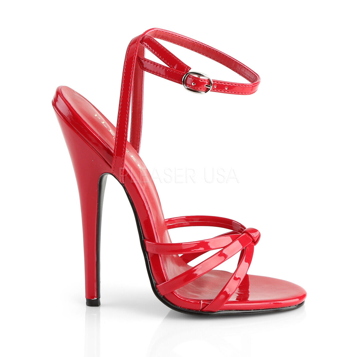 Domina shoes Red Patent High 6 6 6  Spike Heels Ankle Strap Stiletto shoes 108 00e337