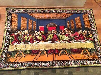 Vintage Velvet Painting Panel The Last Supper Jesus Christ Disciples 36x53 Ebay