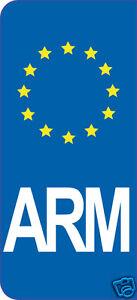 2-Stickers-style-Immatriculation-auto-adhesif-10cm-ARM