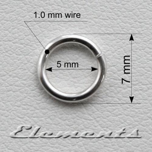 Solide 925 argent sterling solide de 7mm jump rings haute qualité 1,0 mm Fil