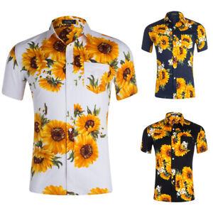 Mens-Floral-Print-T-Shirts-Short-Sleeve-Casual-Golf-Tees-Hawaiian-Holiday-Tops-B