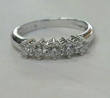 Anello Veretta oro bianco 18 kt 5 diamanti carati 0,25 - Gold and Diamonds