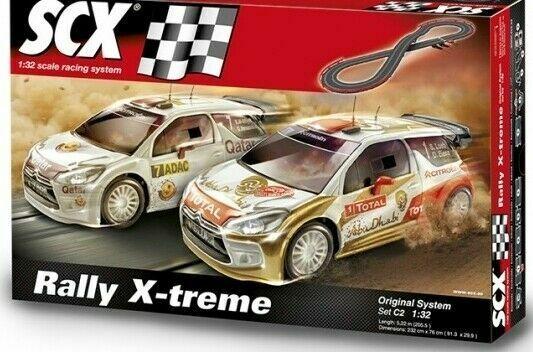 Scx 1/32 Scala Slot Car Set Rally X-Treme