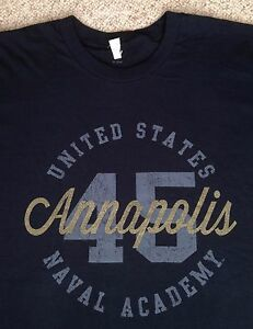 a4aa9ddd XL UNITED STATES NAVAL ACADEMY T-SHIRT Navy & METALLIC BRONZE GOLD ...