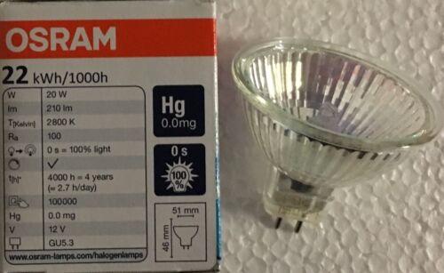 Osram 12v 20W Dichroic MR16 GU5.3 Halogen Bulb 51MM M269 210LM 20 Watt 44860 WFL