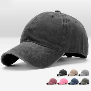 82c4b0b946c Image is loading Men-Women-Plain-Washed-Cap-Style-Cotton-Adjustable-
