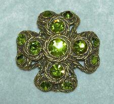 Vintage HAR Moss Green Rhinestone Antique Gold Tone Maltese Cross Pin Brooch