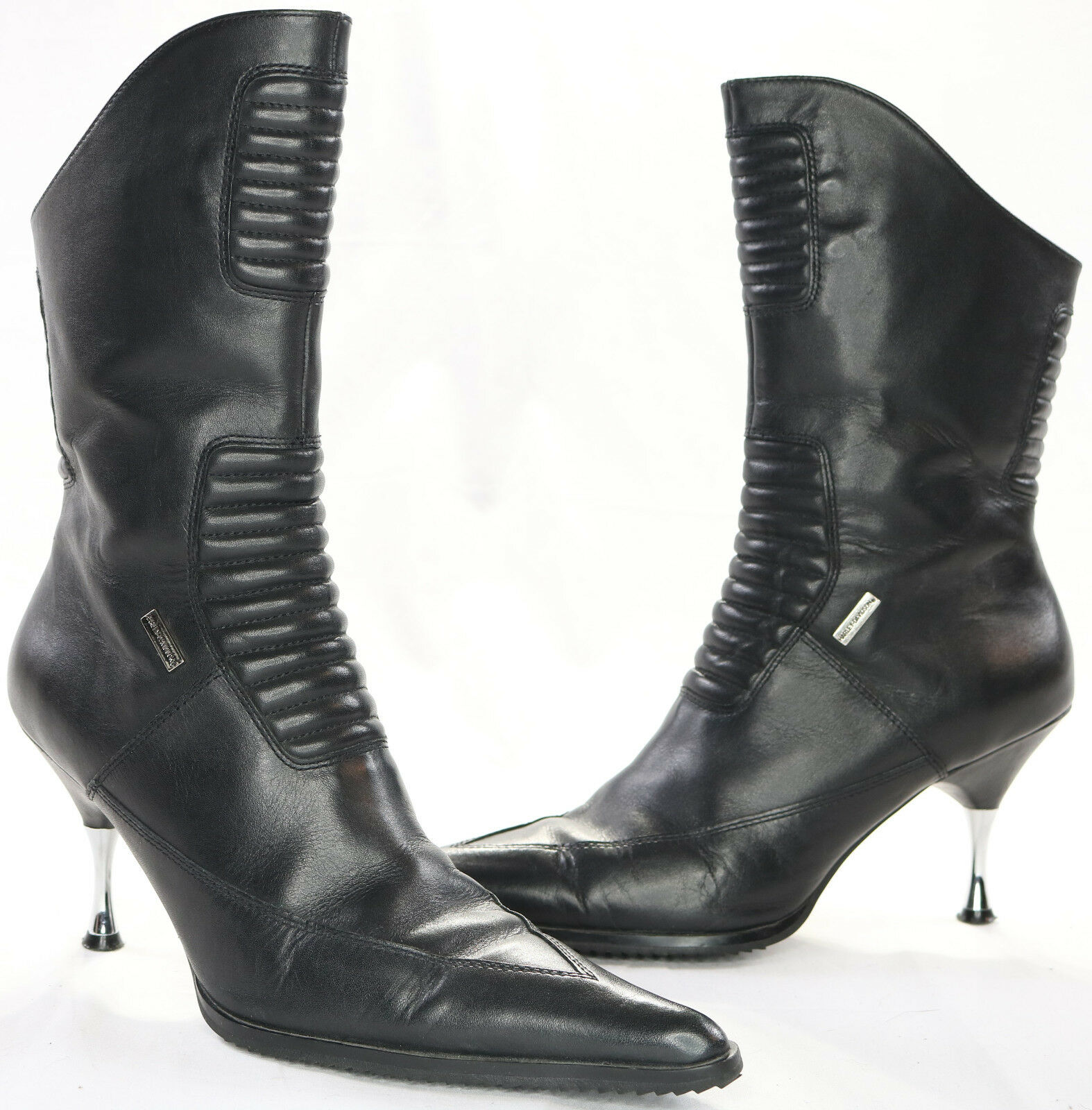 Womens harley davidson leather boots 7.5 black black black stiletto zip up pull on 85010 5b7b5f