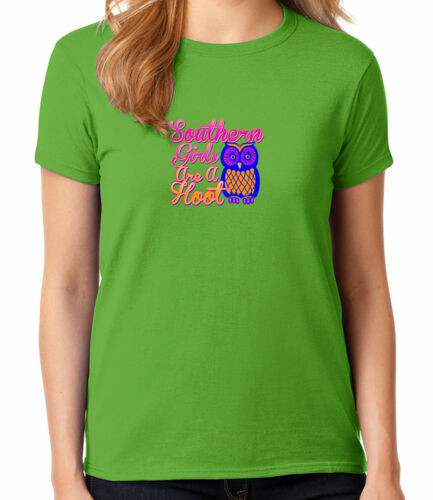 Southern Owl Ladies T-shirt Southern Girls Are A Hoot Women/'s Tee 1187C