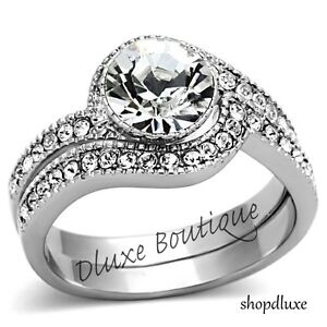 2-25-Ct-Round-Cut-Stainless-Steel-AAA-CZ-Wedding-Ring-Band-Set-Women-039-s-Sz-5-10
