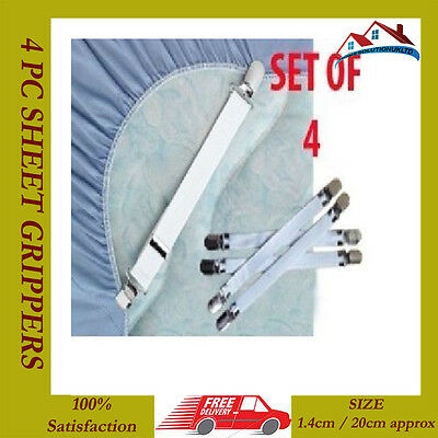 4 X Sheet Grippers Straps Fasteners Hold Grips Sheets Elastic Chrome Clips New Hoge Veerkracht