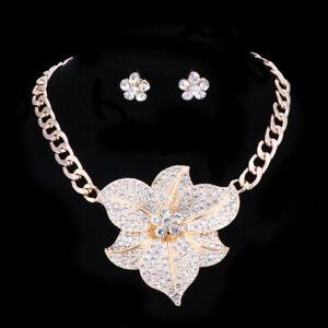 Модные позолоченные цветок кристалл свадьба вечеринка ожерелье серьги ювелирные украшения наборы