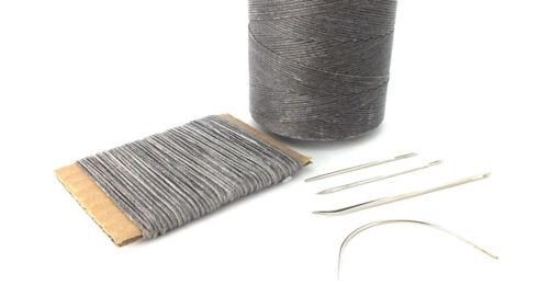 Gris fuerte 1mm de espesor de mano de cuero encerado Agujas De Coser Costura Hilo /&