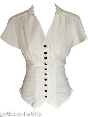 Ivory White Vintage Retro 40s Gothic Steampunk Gathered Blouse Shirt Top