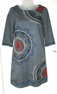 MONSOON-UK8-EU36-GREY-COTTON-LINED-DRESS-WITH-3-4-SLEEVES-AND-EMBROIDERED-DETAIL