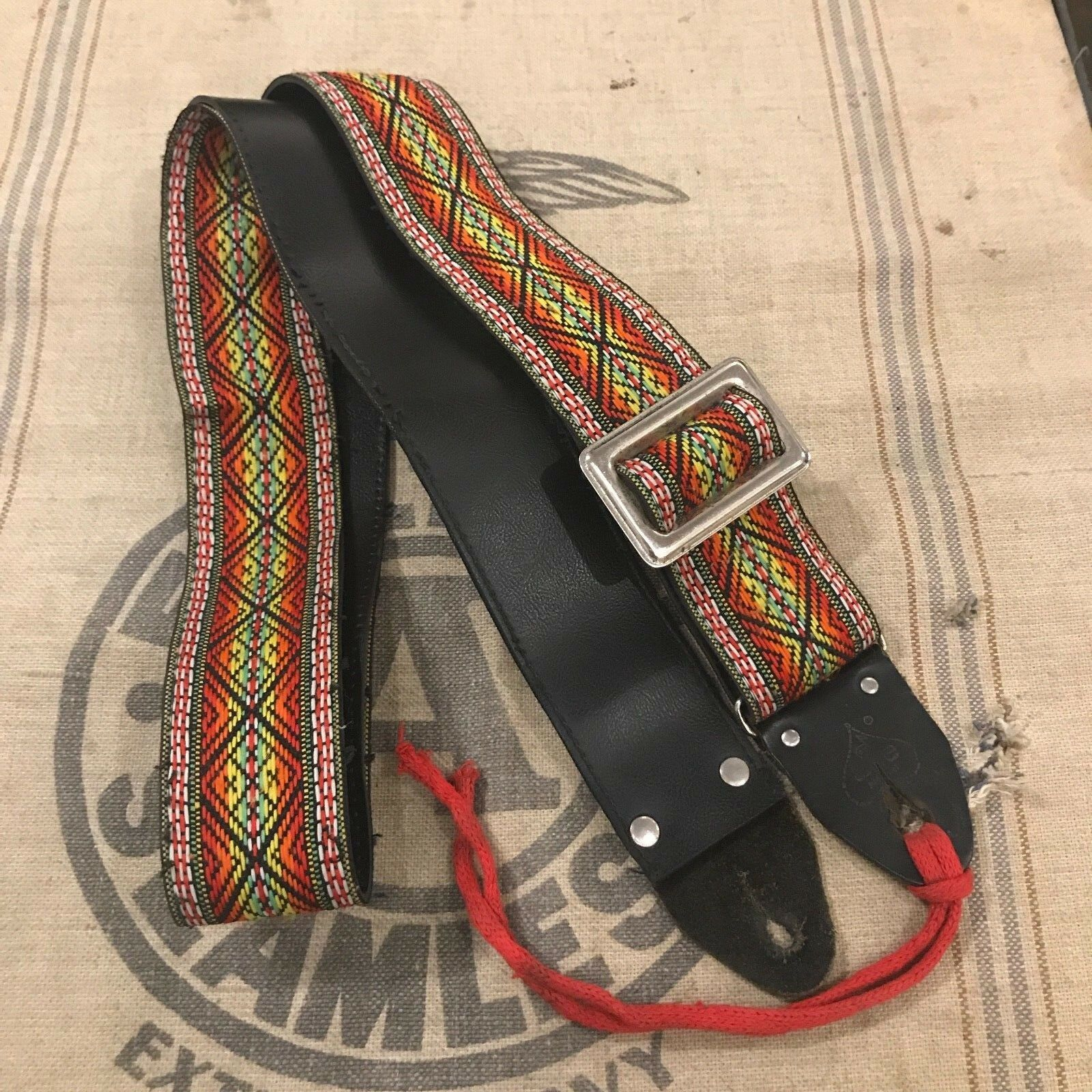 Vintage 1960's Ace Guitar Strap Made in USA rot, Grün & Gelb Hootenanny Strap
