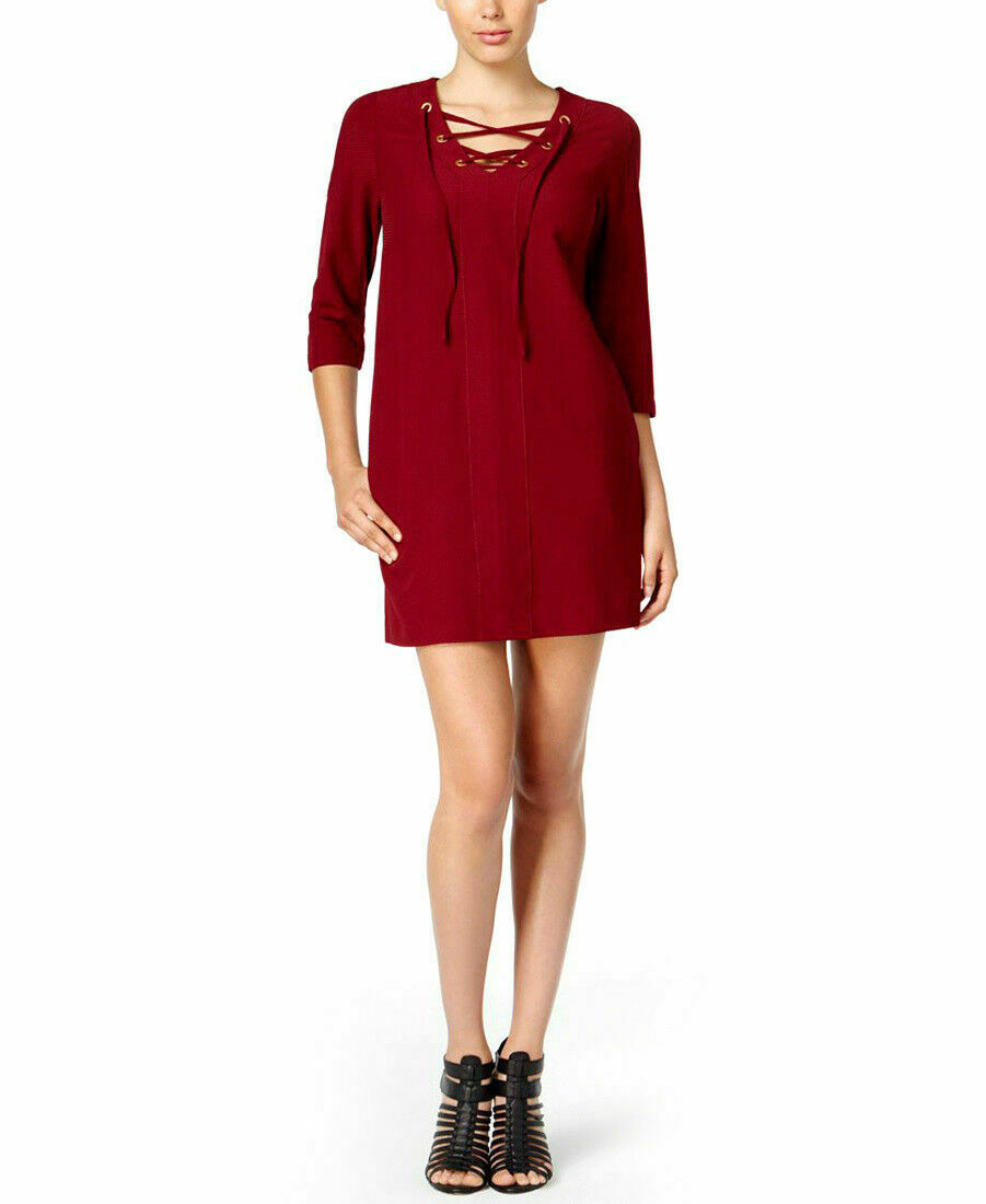 Kensie Woherren Lace-Up Neck Mini Dress Wine Größe Small