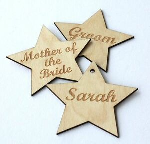 Wood star name tags! Engraved name place setting/personalised/table ...