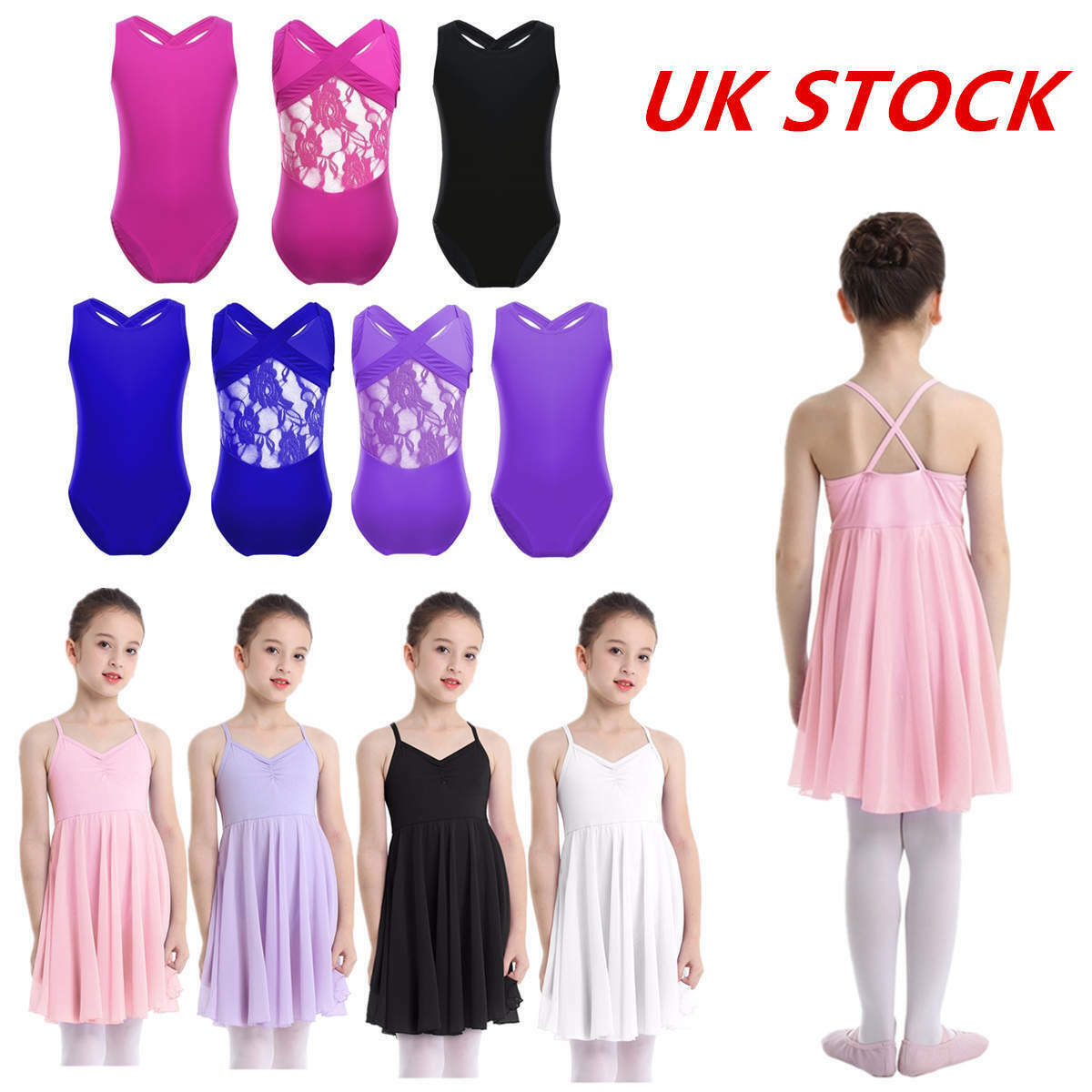UK Girls Kids Ballet Dance Dress Leotard Gymnasitcs Jumpsuit Lyrical Dancewear