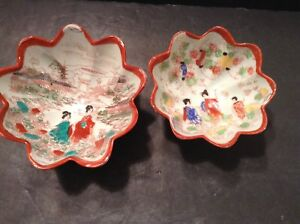 Vintage-Asian-Porcelain-Bowl-Set-Geisha-Girls-Red-Scalloped-Edge-Footed