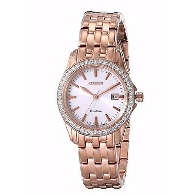Citizen Eco-Drive Women's EW1903-52A Silhouette Swarovski Rose Gold 28mm Watch