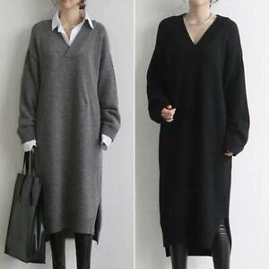 Women-Ladies-Knitted-Sweater-Jumper-Midi-Dress-Winter-Baggy-Long-Pullover-Tops