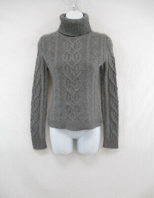 CeCe Women's 100% Cashmere Gray Turtleneck Cable Knit Sweater Size XS #CASH514 | eBay