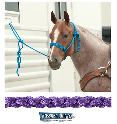 Classic Equine Strong Heavy Duty Horse Rope Halter with 8/' Lead Purple