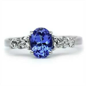 7x5mm-Natural-Lavender-Blue-Tanzanite-Ring-With-Zircon-in-925-Sterling-Silver