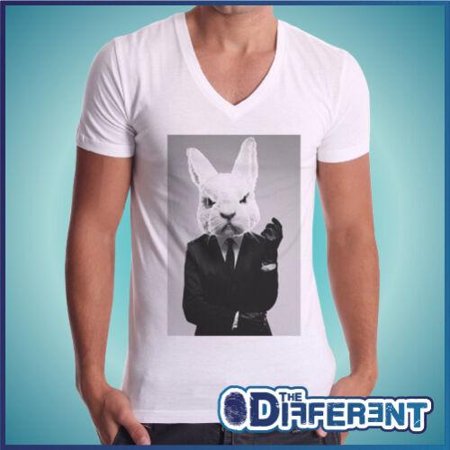 T-Shirt V-Ausschnitt Kaninchen Schlechte Bad Rabbit The Glück Is Have Mein Hemd