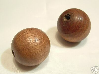 2 x Chinese Wooden Beads BNW87 Caramel Round