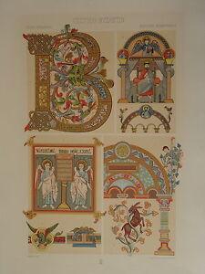 100% De Qualité Grande Litho DÉcoration Architecture Celtique Celtic Byzance 1860 NapolÉon Iii Surface LustréE