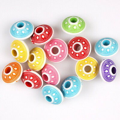 100pcs 112909 Hotsale Mixed Colorful Flying Saucer Charms Acrylic Spacer Beads