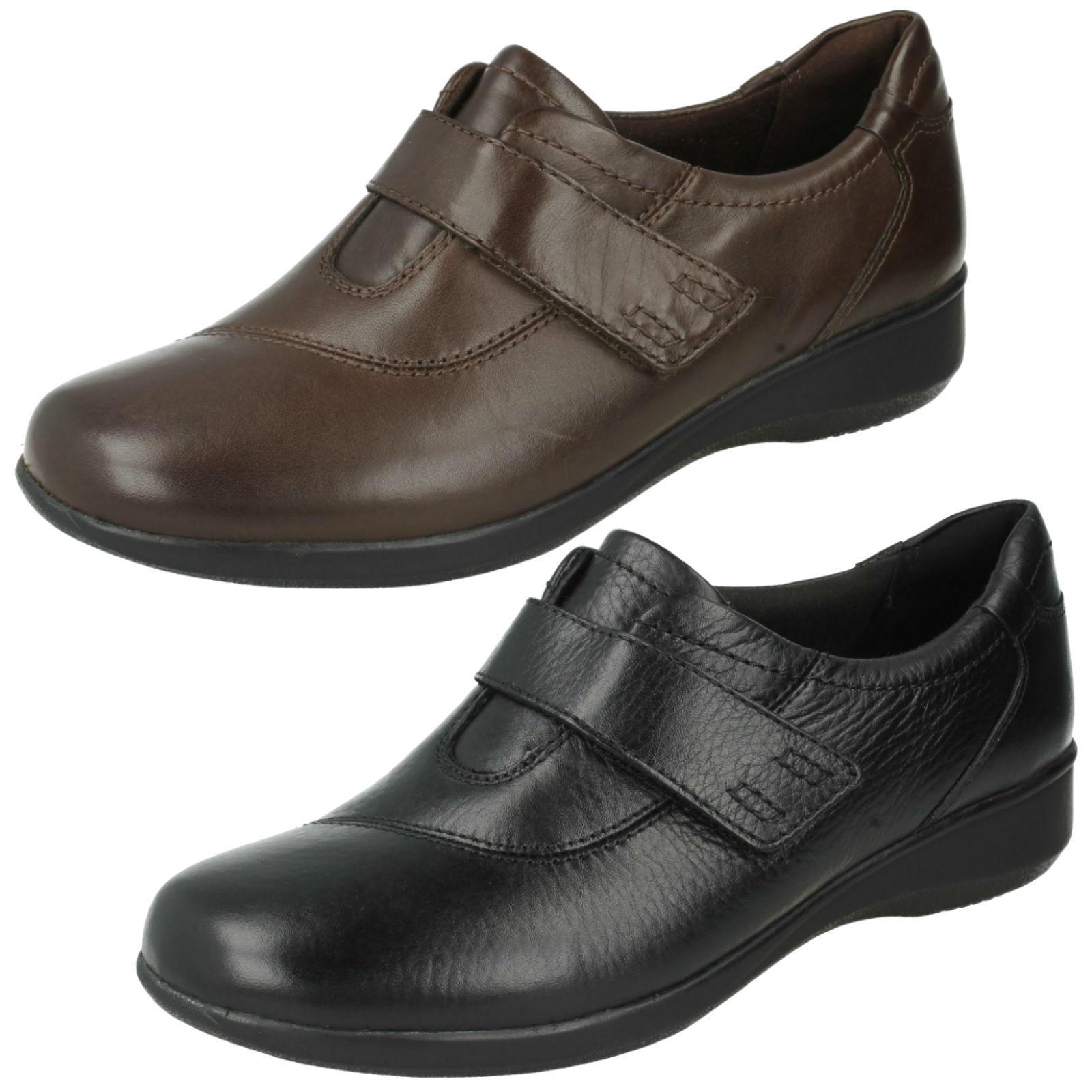 Damen Clarks Leder ripatpe Riemen weite Passform Freizeithosen Schuhe