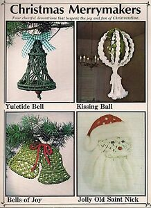 Vintage #404 Macrame A Merry Christmas Candy Cane Wall Decor /& Wreath Patterns
