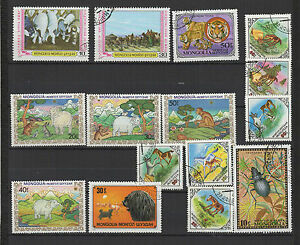 Animaux-annees-70-80-Mongolie-15-timbres-obliteres-T1435