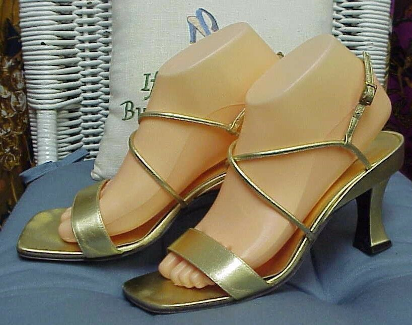 ANN MARINO designer gold strappy heels/sandals, sz. 8 M